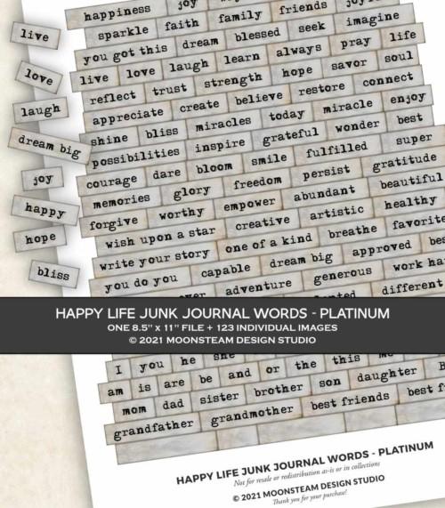 Happy Life Junk Journal Words in Platinum by Moonsteam Design Studio