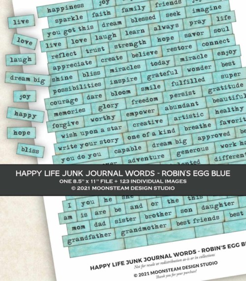 Happy Life Junk Journal Words in Robin's Egg Blue by Moonsteam Design Studio