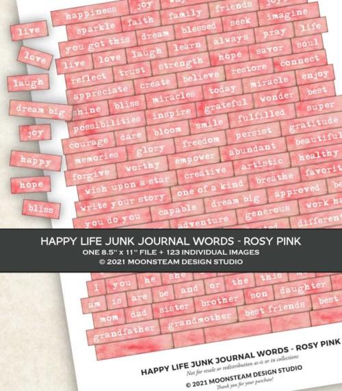 Happy Life Junk Journal Words in Rosy Pink by Moonsteam Design Studio