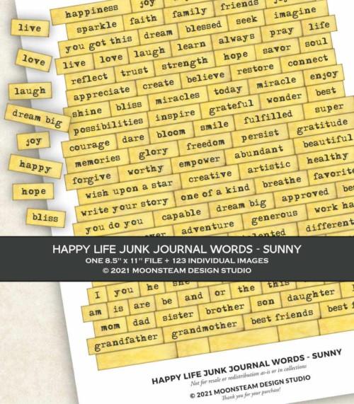 Happy Life Junk Journal Words in Sunny by Moonsteam Design Studio