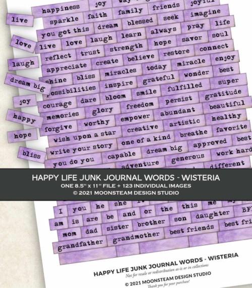 Happy Life Junk Journal Words in Wisteria by Moonsteam Design Studio