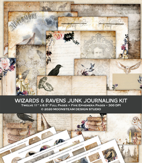 Wizards and Ravens Junk Journal Kit by Moonsteam Design Studio