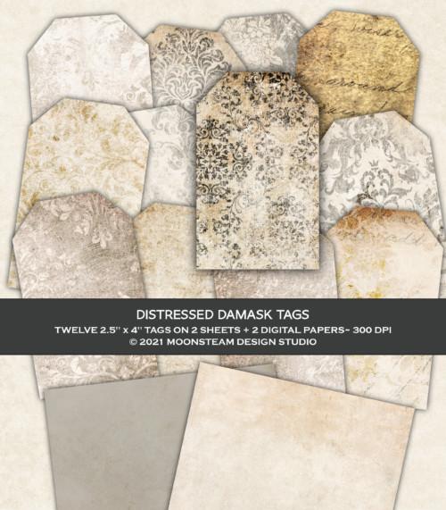 Distressed Black Damask Printable Tags by Moonsteam Design Studio