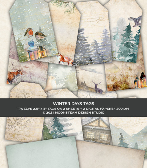 Winter Days Tags by Moonsteam Design Studio