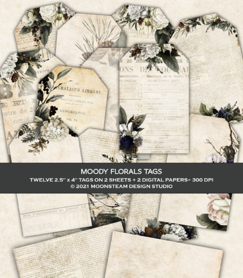 Moody Florals Tags by Moonsteam Design Studio