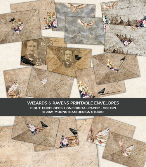 Wizards and Ravens Printable Envelopes by Moonsteam Design Studio