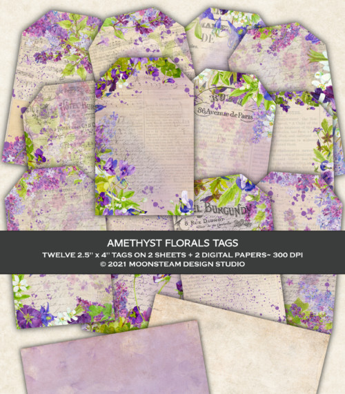 Amethyst Florals Tags by Moonsteam Design Studio