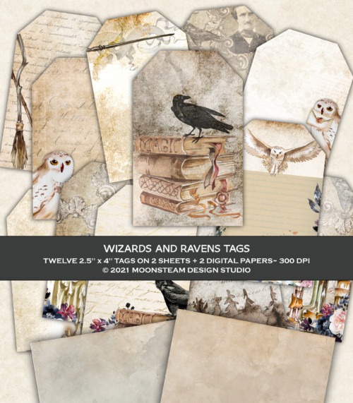 Wizards and Ravens Tags by Moonsteam Design Studio