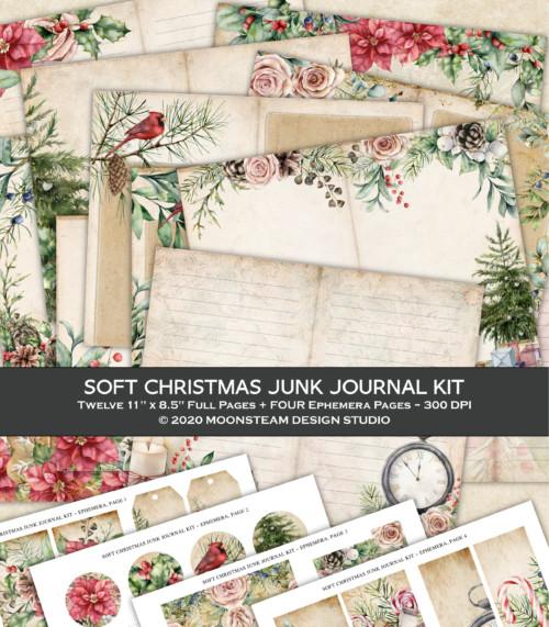 Soft Christmas Junk Journal Kit by Moonsteam Design Studio