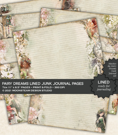 Fairy Dreams Lined Journal Pages by Moonsteam Design Studio