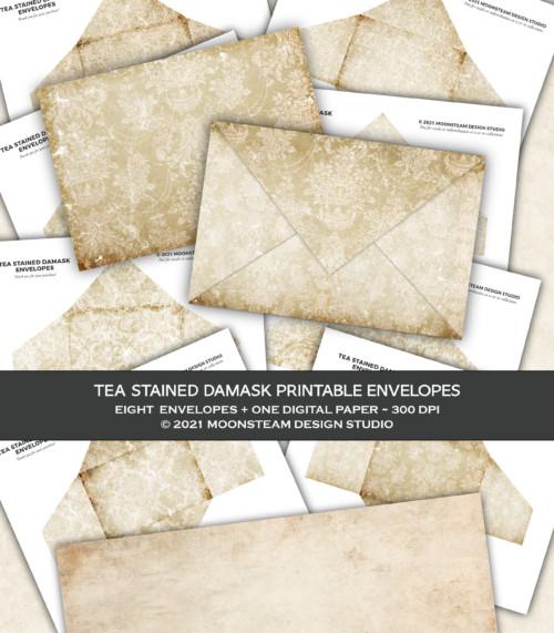 Tea Stained Damask Printable Envelopes by Moonsteam Design Studio