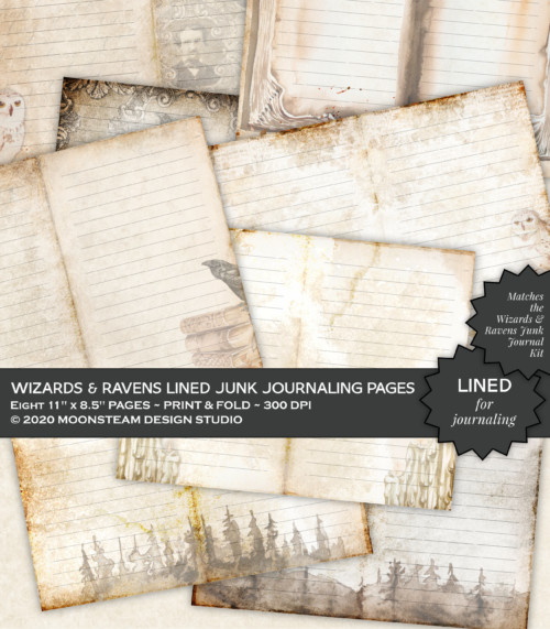 Wizards and Ravens Lined Journal Pages by Moonsteam Design Studio