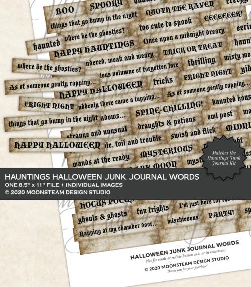 Halloween Junk Journal Words by Moonsteam Design Studio