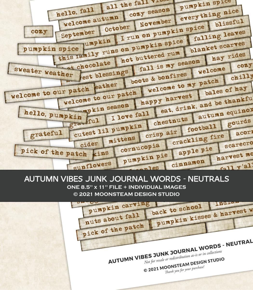 Autumn Vibes Journal Words in Neutral by Moonsteam Design Studio