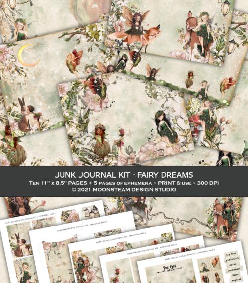Fairy Dreams Junk Journal Kit by Moonsteam Design Studio