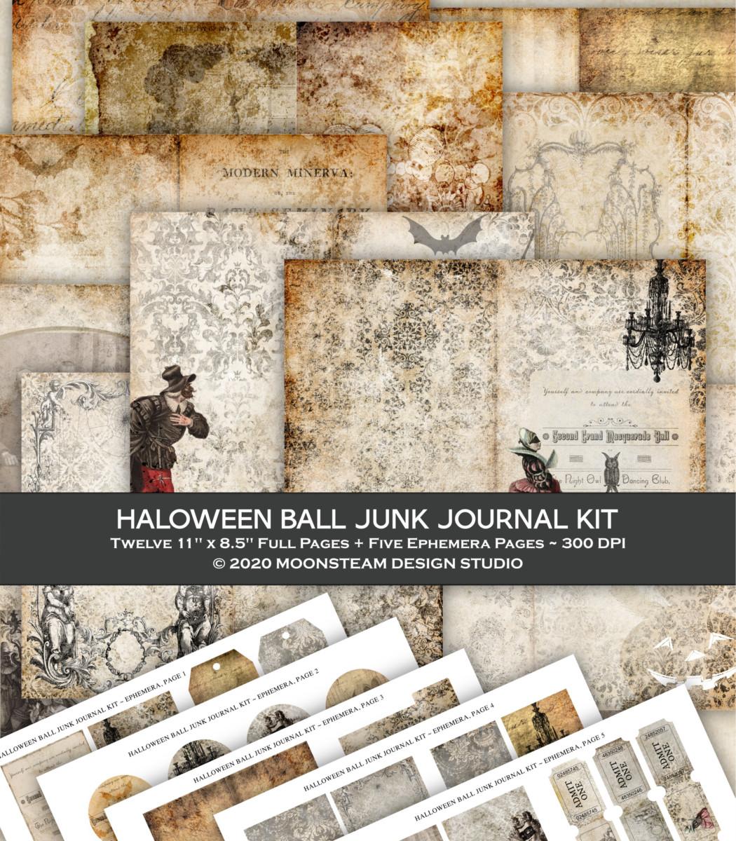 Halloween Ball Junk Journal Kit by Moonsteam Design Studio