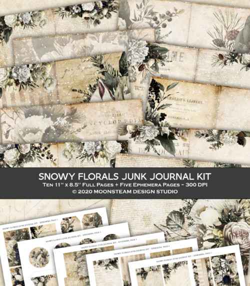 Snowy Florals Junk Journal Kit by Moonsteam Design Studio