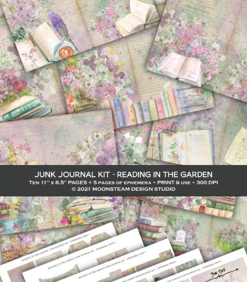Reading in the Garden Junk Journal Kit by Moonsteam Design Studio