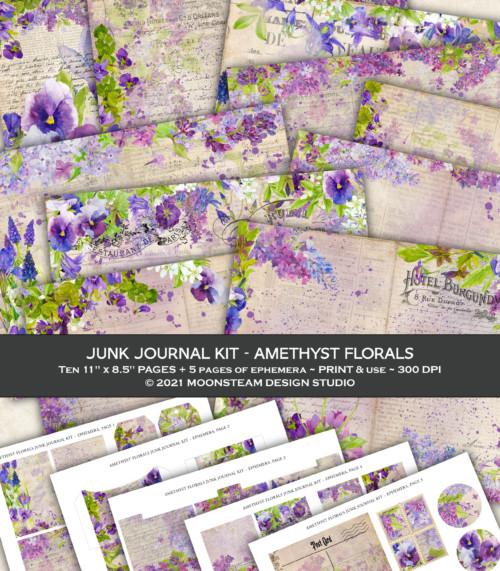 Amethyst Florals Junk Journal Kit by Moonsteam Design Studio