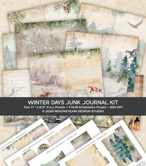 Winter Days Junk Journal Kit by Moonsteam Design Studio