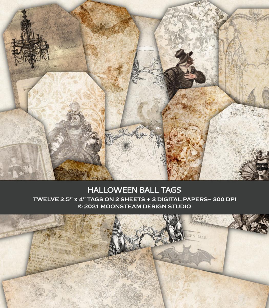 Halloween Ball Printable Tags by Moonsteam Design Studio