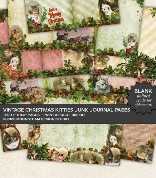 Vintage Christmas Kitties Blank Journal Pages by Moonsteam Design Studio