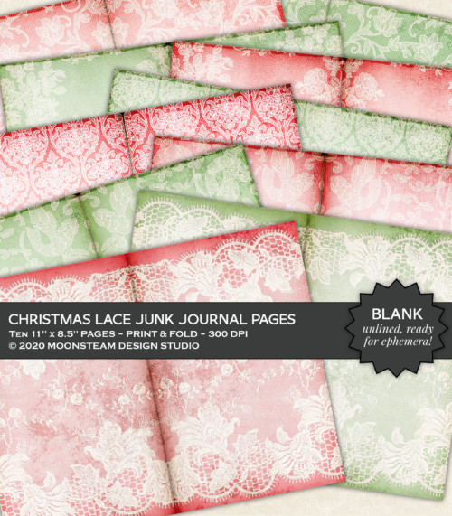 Christmas Lace Journal Pages by Moonsteam Design Studio