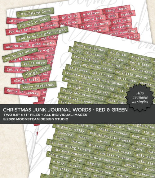 Christmas Journal Words in Red and Green by Moonsteam Design Studio