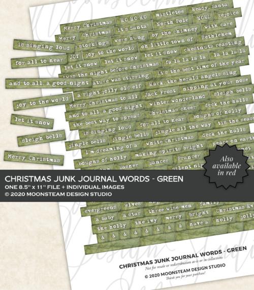Christmas Journal Words in Green by Moonsteam Design Studio