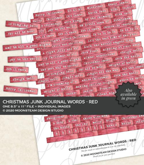 Christmas Journal Words in Red by Moonsteam Design Studio