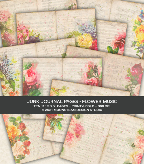 Flower Music Junk Journal Pages by Moonsteam Design Studio