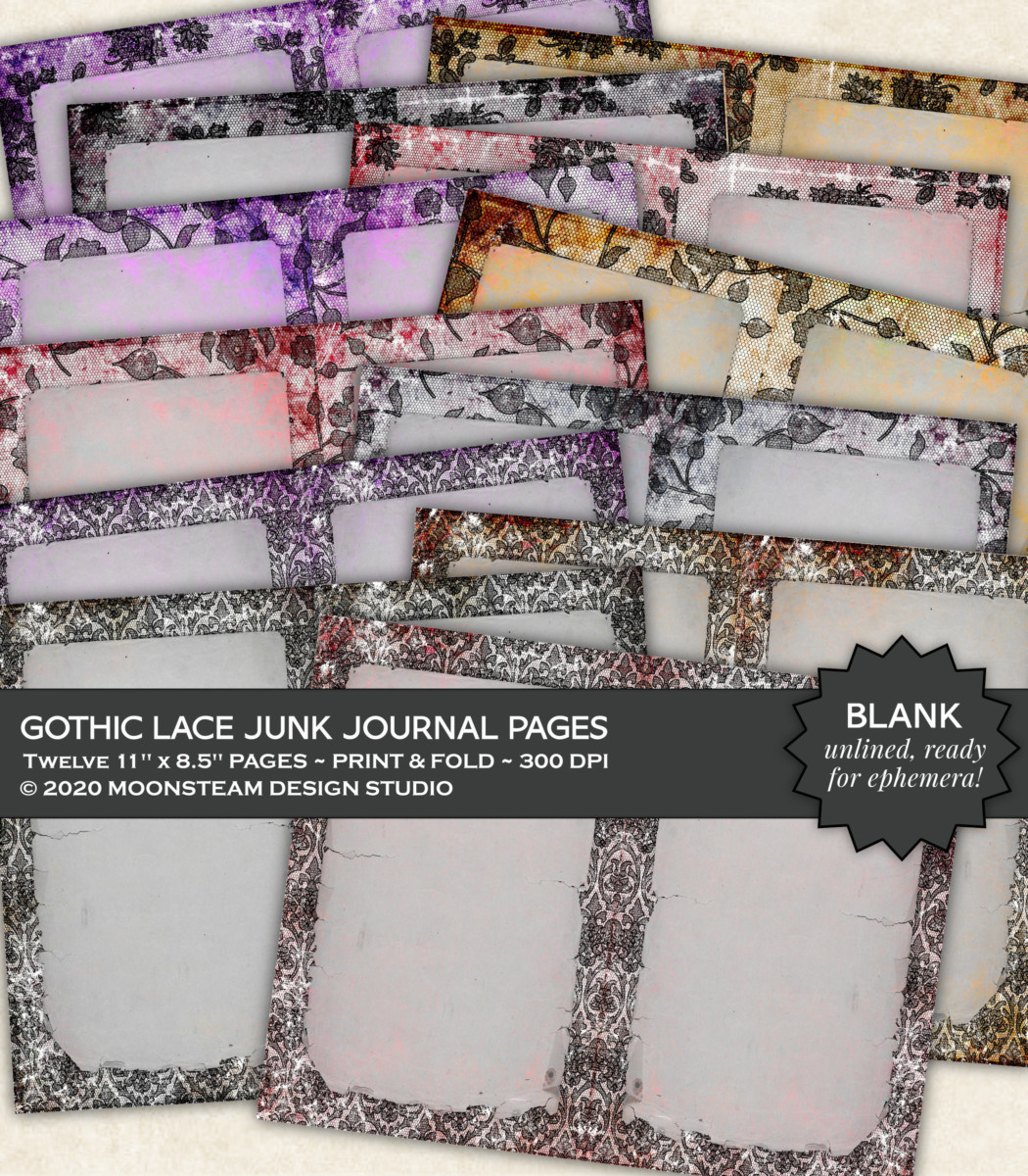 Gothic Lace Blank Journal Pages by Moonsteam Design Studio