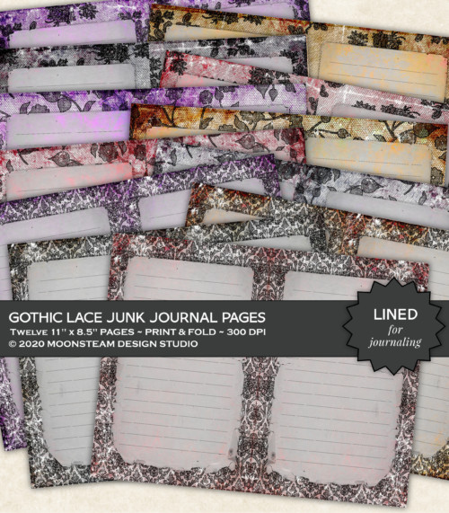 Gothic Lace Lined Journal Pages by Moonsteam Design Studio