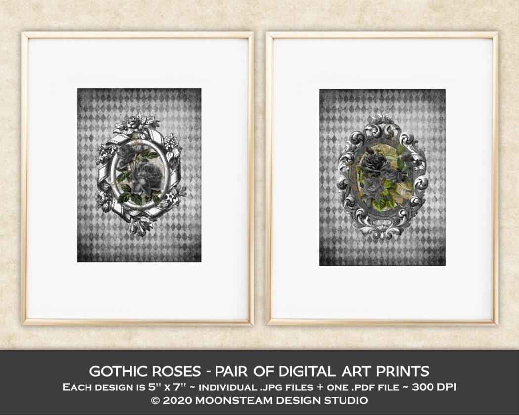 Gothic Roses Art Prints by Moonsteam Design Studio