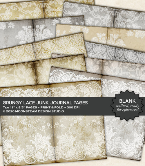 Grungy Lace Journal Pages by Moonsteam Design Studio