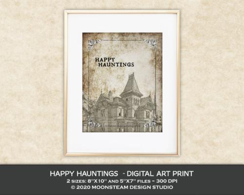 Happy Hauntings Art Print by Moonsteam Design Studio