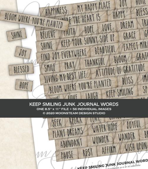 Keep Smiling Journal Words by Moonsteam Design Studio
