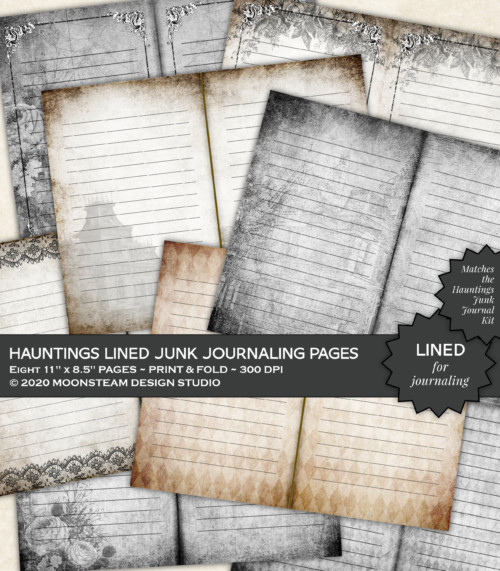 Hauntings Lined Journal Pages by Moonsteam Design Studio