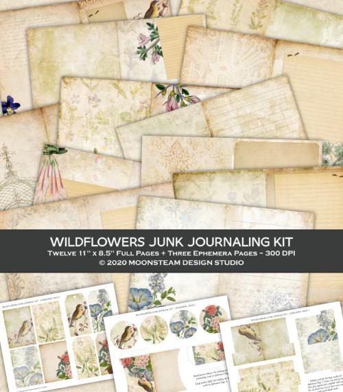 Vintage Wildflowers Junk Journal Kit by Moonsteam Design Studio