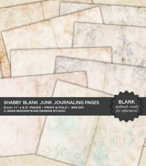 Shabby Blank Junk Journal Pages by Moonsteam Design Studio