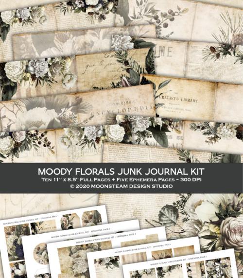Moody Florals Junk Journal Kit by Moonsteam Design Studio