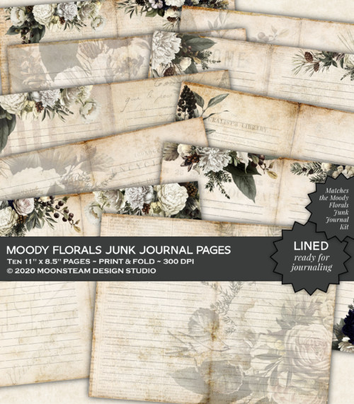 Moody Florals Lined Journal Pages by Moonsteam Design Studio