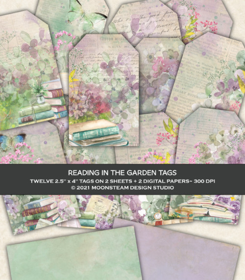 Reading in the Garden Printable Tags by Moonsteam Design Studio