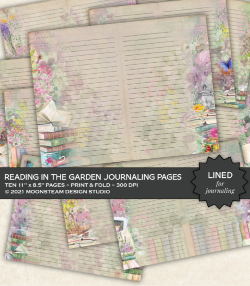 Reading in the Garden Lined Journal Pages by Moonsteam Design Studio
