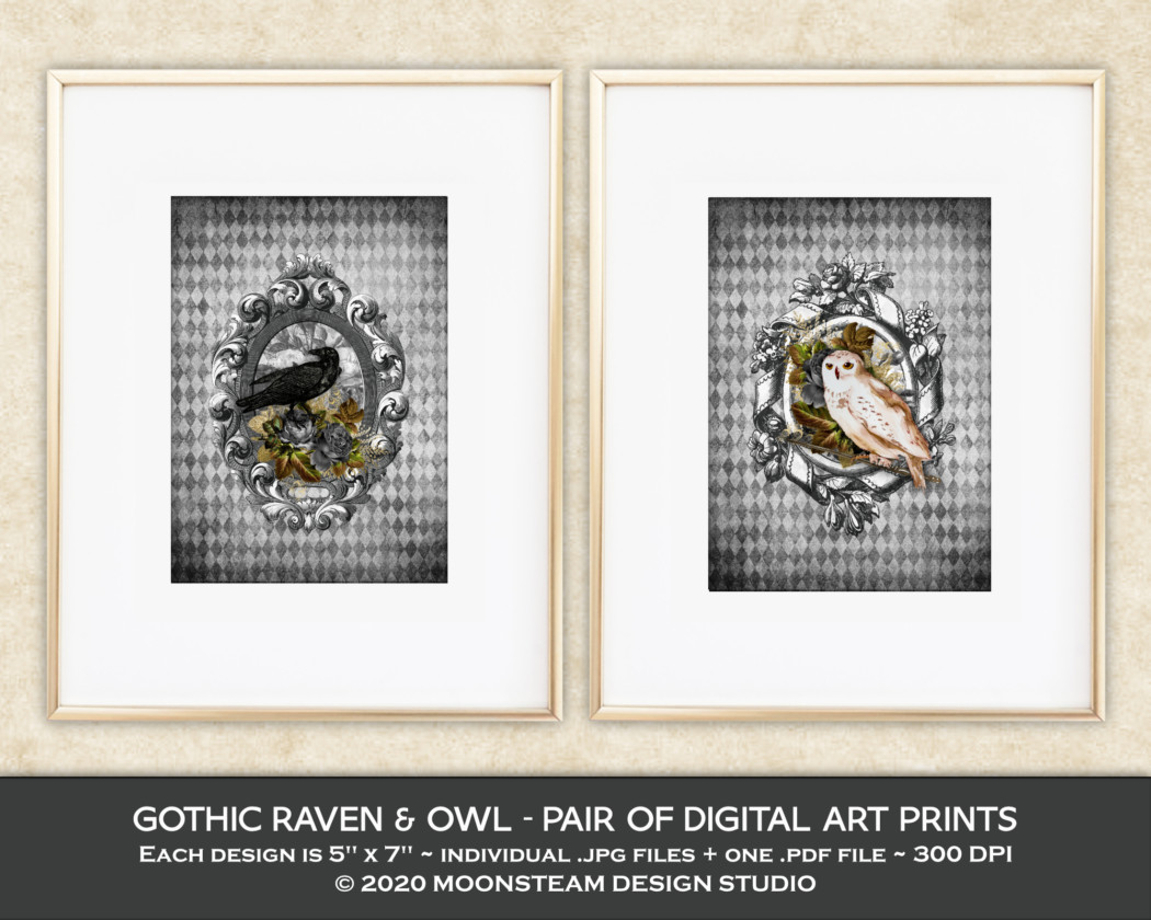 Gothic Raven and Owl Art Prints by Moonsteam Design Studio
