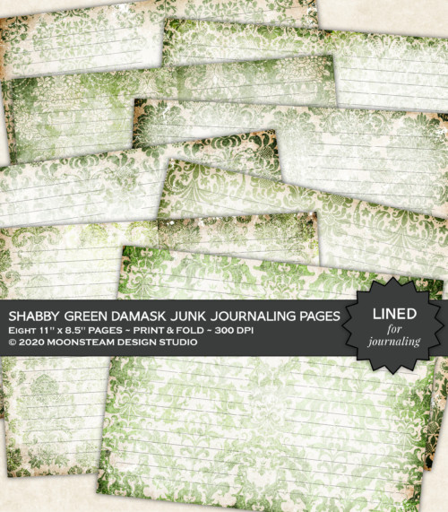 Shabby Green Damask Lined Journal Pages by Moonsteam Design Studio