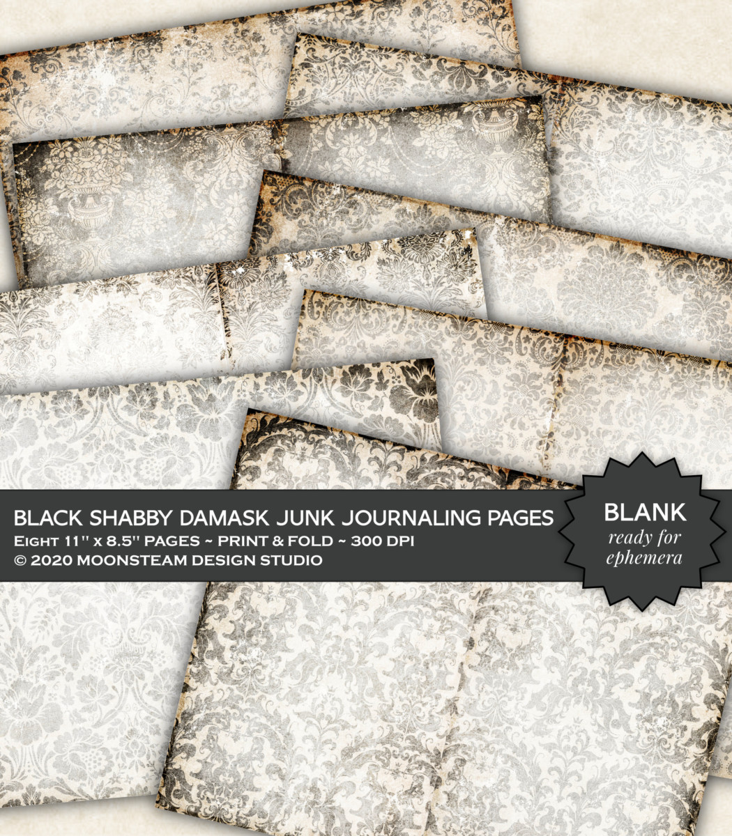 Black Shabby Damask Blank Journal Pages by Moonsteam Design Studio