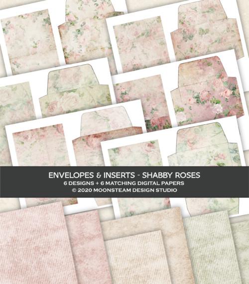 Shabby Roses Printable Envelopes by Moonsteam Design Studio