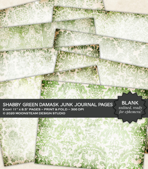 Shabby Green Damask Journal Pages by Moonsteam Design Studio