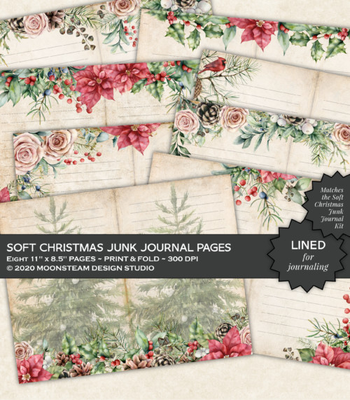 Soft Christmas Lined Journal Pages by Moonsteam Design Studio